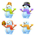 3D Cute Snowman Vector Art