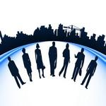 Business people and urban construction silhouette Vector Art