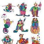 Clown Set Vector Art