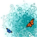 Flowers and Butterfly Graphics Vector Art