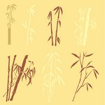 Bamboo silhouettes vector material