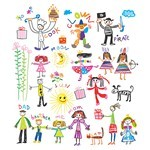 Hand-Painted Children's Vector 01