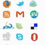 WEB 2.0 Origami Icons Set