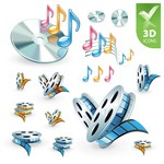 3D Audio Video Icon [EPS File]