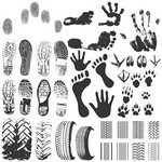 45 Footprints Silhouette Vectors