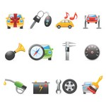 Car Peripheral Products Icons [EPS File]