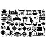China Symbols Silhouettes