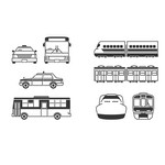 Transport, Plane, Helicopter, Car, Truck, Train, Bus Silhouettes