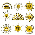 Cartoon sun avatar expression