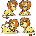 Cute Cartoon Animals, Lion 01