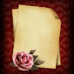 Rose Background, Old Paper Frame