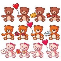 Free Vector Teddy Bears Set [PNG]