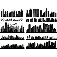 City Skyscrapers Silhouette Set 05