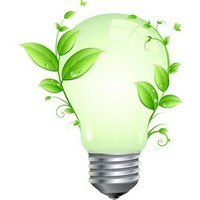 Green Leaf and Energy Saving Lamp Vector