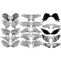 Vintage Wings Vector Set 04