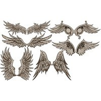 Vintage Wings Design Vector Set 01