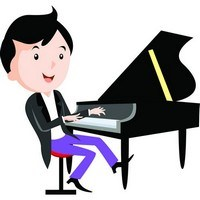 Children playing musical instruments – Piano