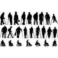 Disabled people silhouettes