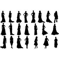 Fashion girls silhouettes