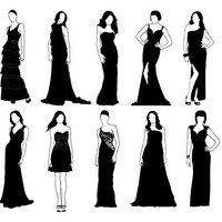 Girls in classic evening dress silhouette