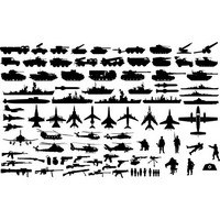 Military vehicle silhouettes