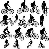 People on biker silhouette
