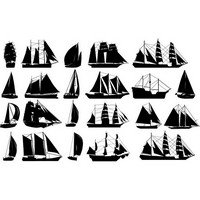 Sailboats silhouettes