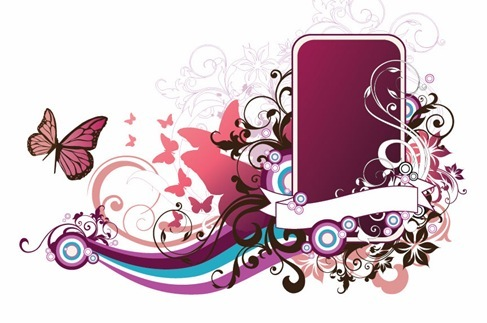 Abstract Floral Frame Vector Art png