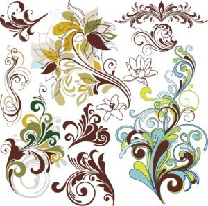 Vintage Floral Design Elements Vector Art