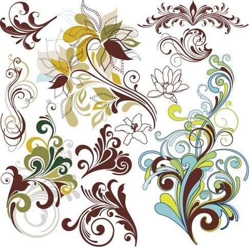 Vintage Floral Design Elements Vector Art png