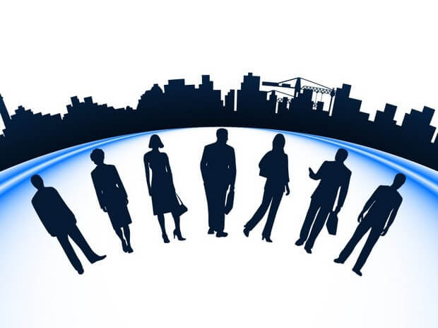 Business people and urban construction silhouette Vector Art png