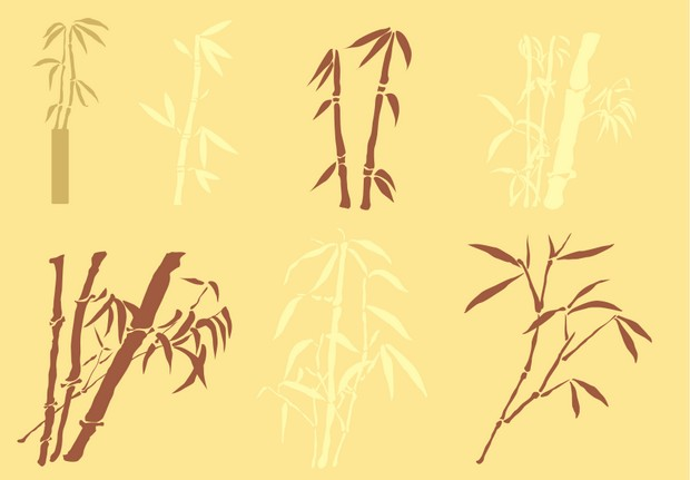Bamboo silhouettes vector material png