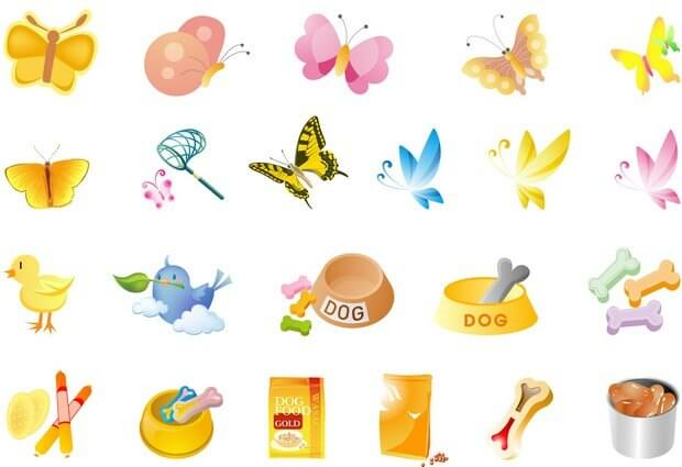 Butterflies, pet food, chicken Vector png