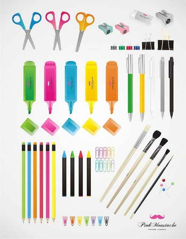 Pencil, pen, crayon, pencil sharpener, scissors, pen, rubber png
