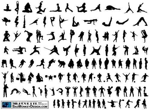 100 People Silhouette Vectors png