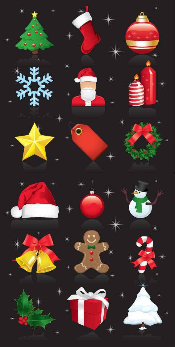 ChristmasOrnamentsVectorSet vector