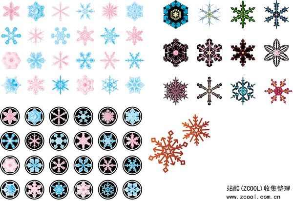 Various Snowflake Vector Art png