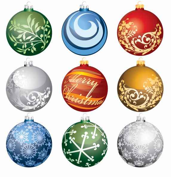 Christmas Ornament Balls Vector Art png