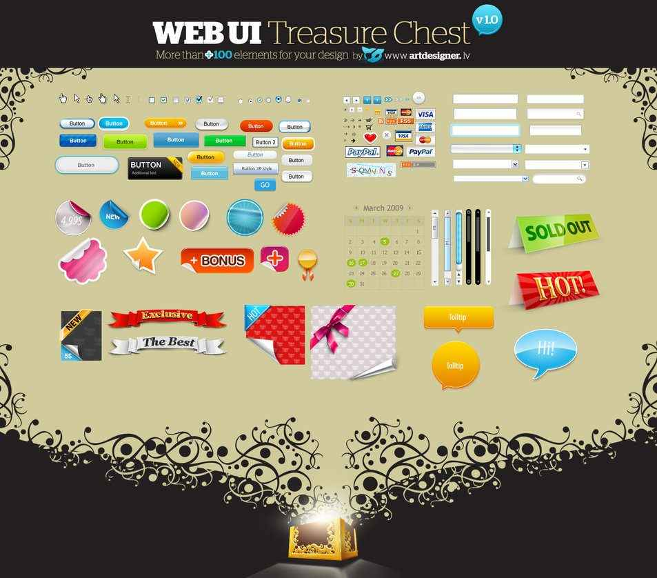 WEB UI Treasure Chest v 1.0 [PSD File] png