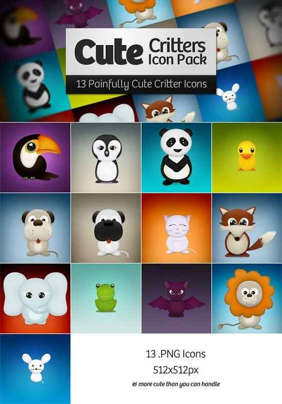 Cute Critters Icon Pack png