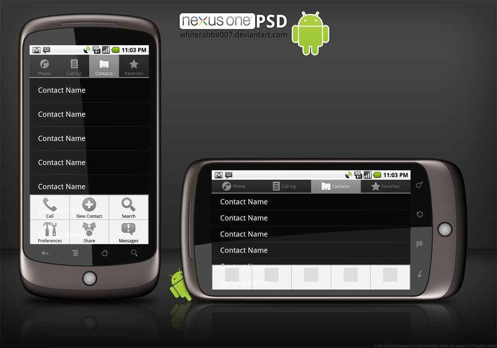 Google Nexus One template PSD png