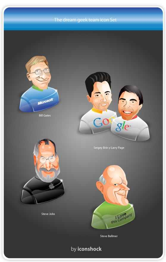 Quirky Icon Set: The Dream Geek Team [PNG File] png