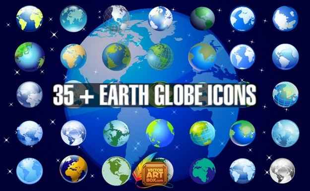 Earth Globe Icons Set png