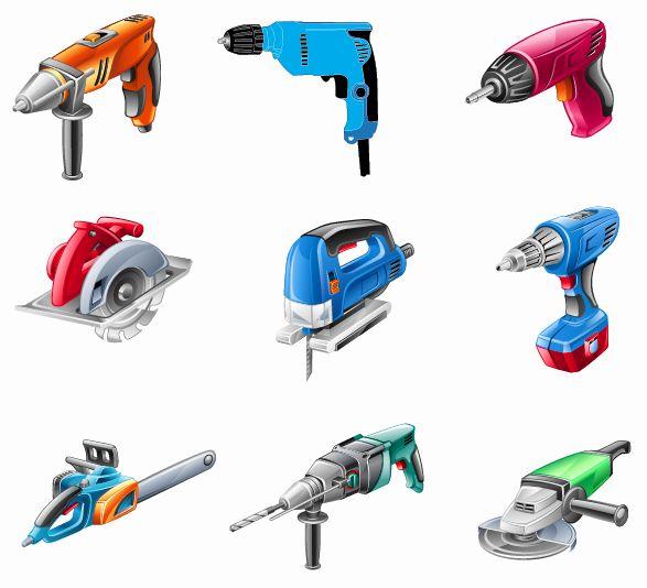 electric tools set vector