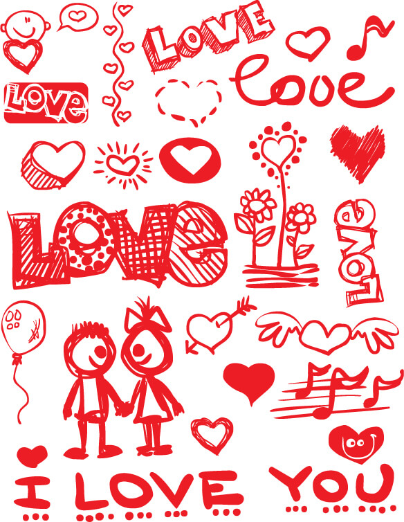 graffiti style valentines day material elements