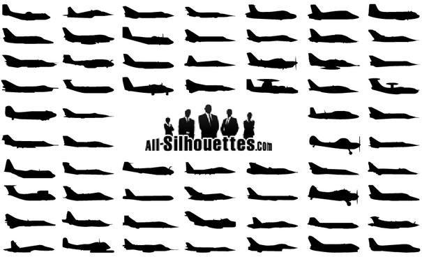 Airplanes Sideview Silhouette Vectors [EPS AI SVG Files]
