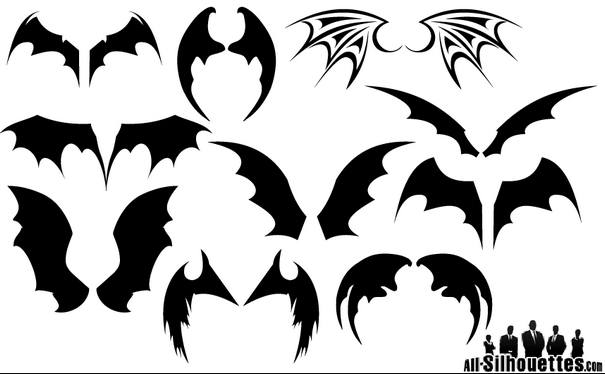Bat Wings Silhouette Vectors [EPS AI SVG Files] png