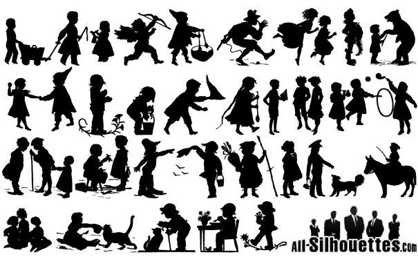 Old Style Children Silhouettes [EPS SVG AI Files] png
