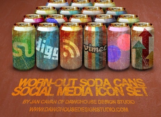 Worn Out Soda Cans Social Media Icon Pack 200x200 [PNG PSD Files] png