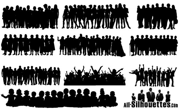 People Crowds Silhouette png